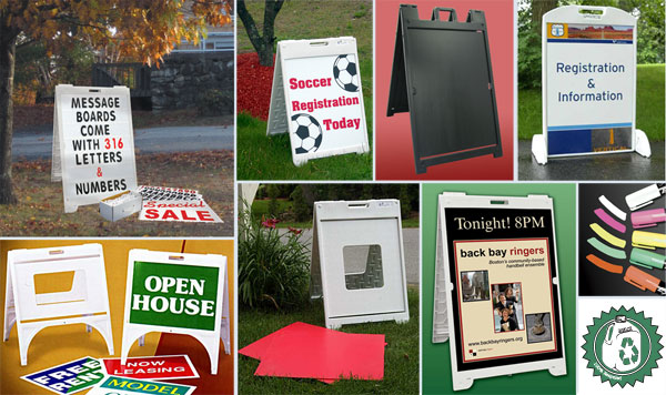 A-Frame Sidewalk Signs with a unique holder providing easy to change graphics